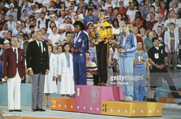 View of the medal winners of the Women's heptathlon event with, from left, silver medallist Jackie Joyner-Kersee of the United States, gold medallist...