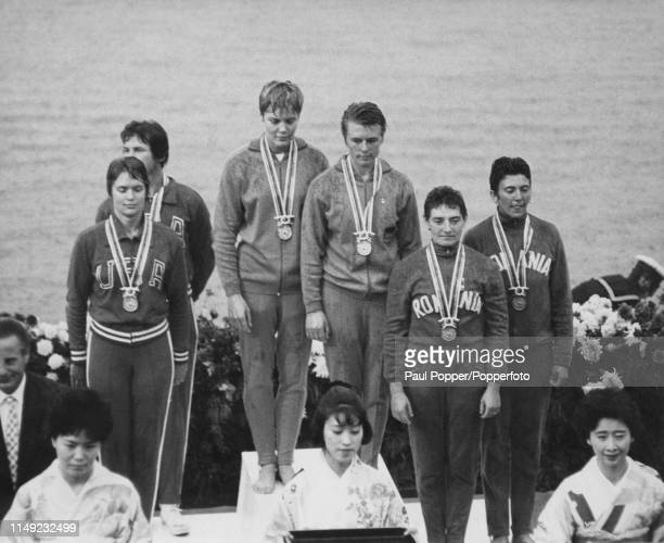 View of the medal winners of the Women's K2 500 metres kayaking event with from left silver medal winners francine Fox and Glorianne Perrier of the...