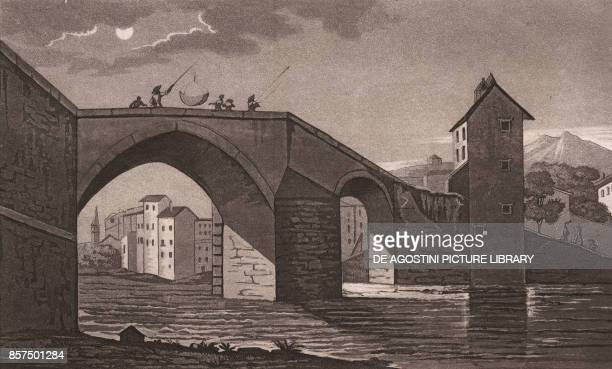 View of the Medicean Bridge on the Sieve River in Pontassieve Tuscany Italy aquatint 193x117 cm from Viaggio in Italia per Francesco Gandini ovvero...