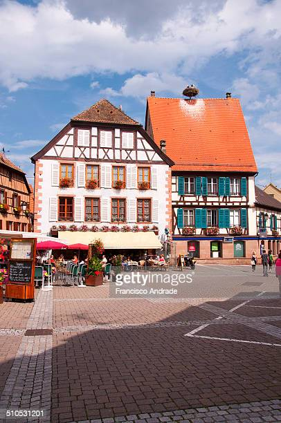 View of the medieval village of Ribeauvillé Alsace France