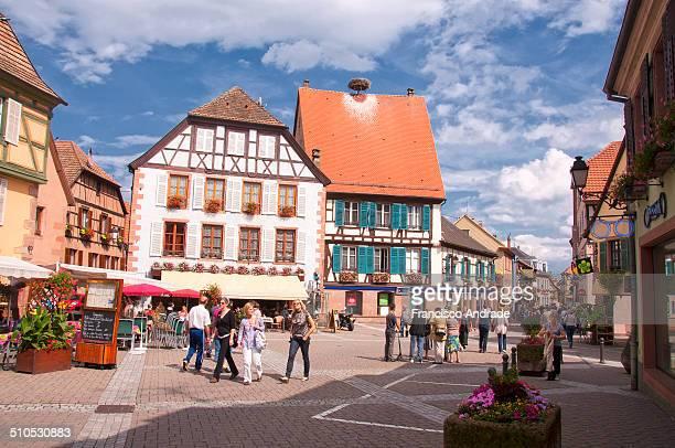 View of the medieval village of Ribeauvillé Alsace France Vista da vila medieval de Ribeauvillé Alsace França