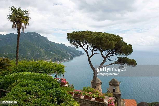 View of the Mediterranean Sea and Umbrella pine tree from the garden of Villa Rufolo in Ravello on the Amalfi Coast Italy