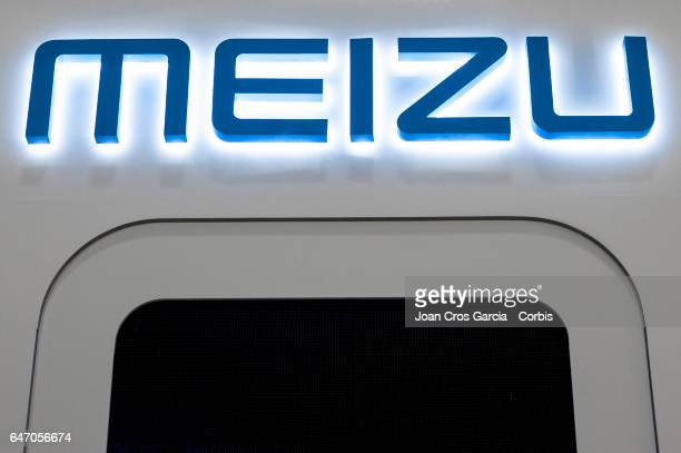 View of the Meizu company logo on their stand during the Mobile World Congress on March 1, 2017 in Barcelona, Spain.