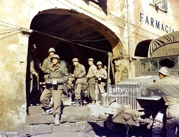 View of the members of an Ordnance outfit attached to the 91st Division as they line up for a meal near Bologna Italy 1944