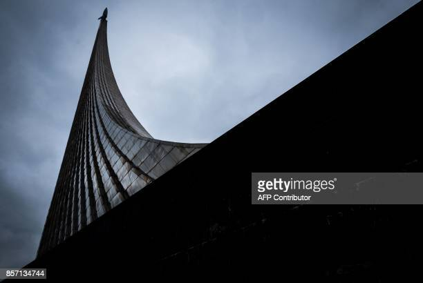 A view of the Memorial Museum of Cosmonautics near the AllRussia Exhibition Centre a trade show and amusement park in Moscow on October 3 2017 / AFP...