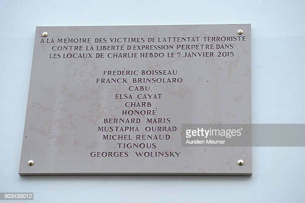 A view of the memorial stone in front of the former Charlie Hebdo office on January 5 2016 in Paris France One year after the Charlie Hebdo terrorist...