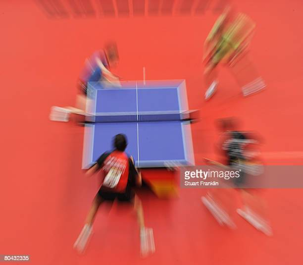 A view of the mens double during the German table tennis championships at the Sporthalle on March 30 2008 in Hamburg Germany