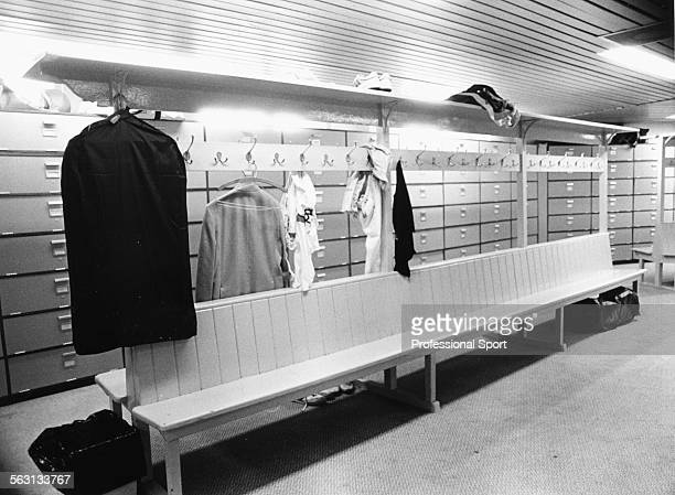 View of the men's dressing room or locker room during Wimbledon Tennis Championships at the All England Club London 1987