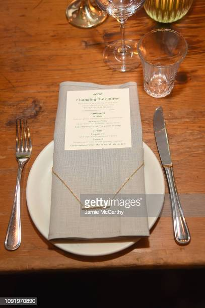 A view of the menu and dinnerware as Aerie celebrates #AerieREAL Role Models in NYC on January 31 2019 in New York City