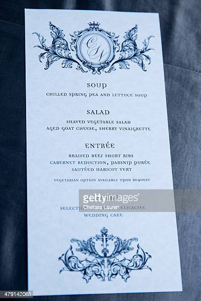 A view of the menu at Nikki Sixx and Courtney Bingham's wedding at Greystone Mansion on March 15 2014 in Beverly Hills California