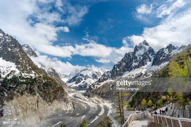 """View of the """"Mer de Glace"""" (sea of ice) Glacier, on the right: """"Les Grandes Jorasses"""" at 4208m, from the Montenvers historic train station in Chamonix"""