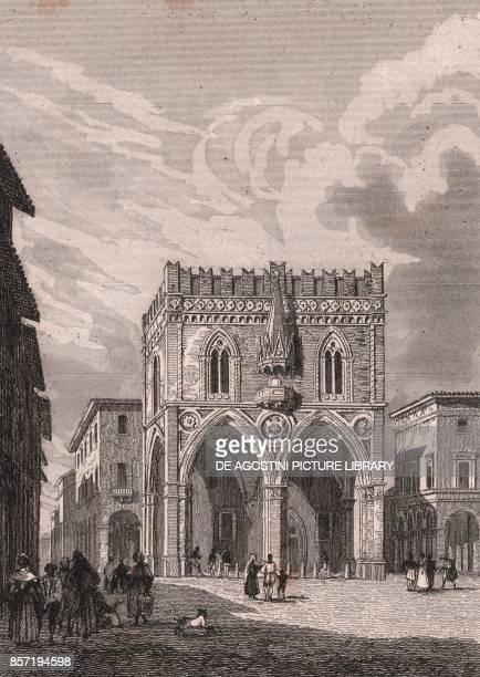 View of the Mercanzia Palace from Piazza della Mercanzia Bologna EmiliaRomagna Italy steel engraving ca 105x73 cm from L'Italia la Sicilia le isole...