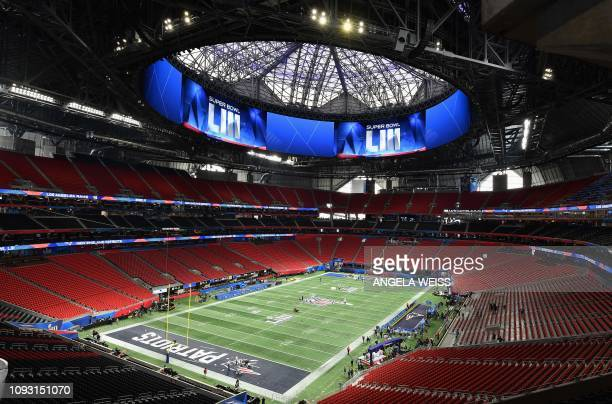 TOPSHOT View of the MercedesBenz Stadium in Atlanta Georgia on February 2 2019 The New England Patriots will meet the Los Angeles Ram at Super Bowl...