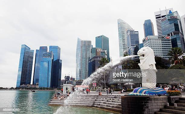 View of the Merlion and the Singapore financial district near the Singapore River on March 9, 2015 in Singapore.