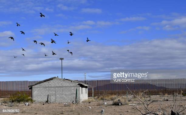 TOPSHOT View of the metal fence between US and Mexico taken in Puerto Palomas Chihuahua state on February 19 2017 Attention Editors this image is...