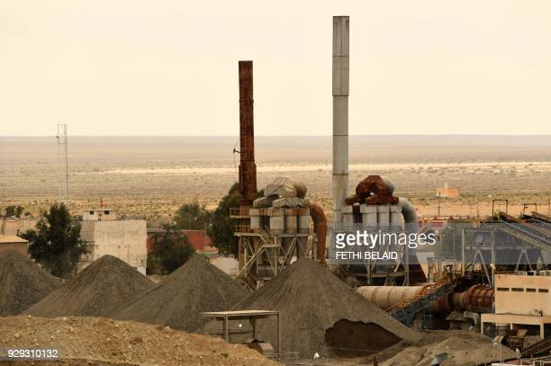 A view of the Metlaoui phosphate production plant on March 8 in the Metlaoui mining region one of the main mining sites in central Tunisia after...