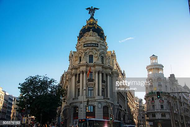 CONTENT] View of the Metropolis Building in Madrid at the corner of the Calle de Alcalá and Gran Vía