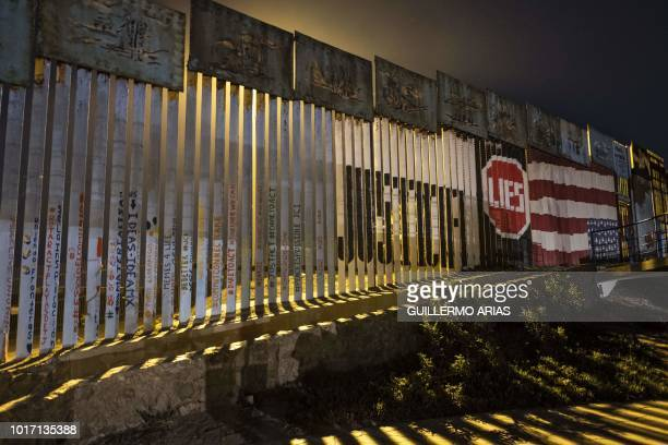View of the MexicoUS border fence in Tijuana Baja California state Mexico on August 11 2018
