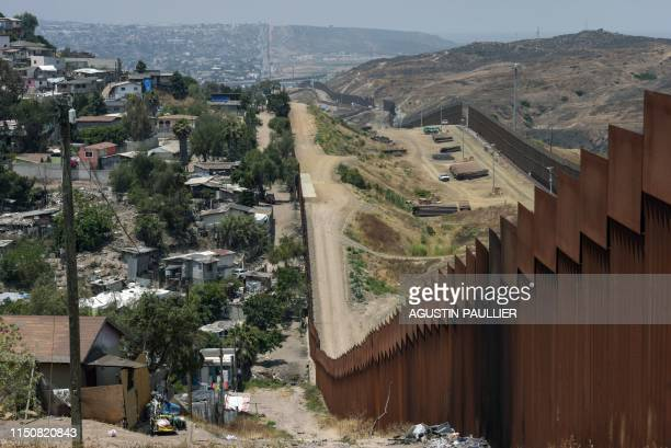 View of the MexicoUS wall on June 18 in Tijuana Baja California Mexico