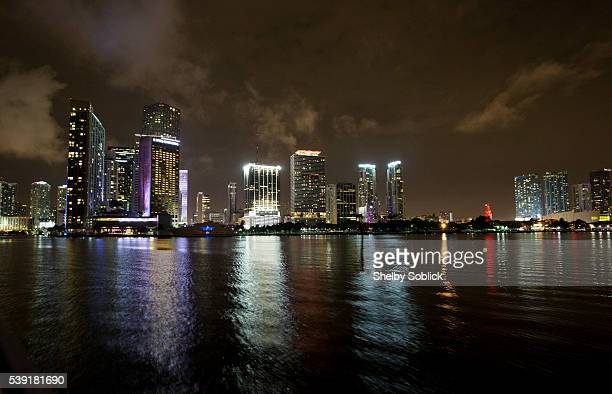 View of the Miami skyline from Biscayne Bay at the Versy official launch celebration with Complex Magazine on June 9, 2016 in Miami, United States.