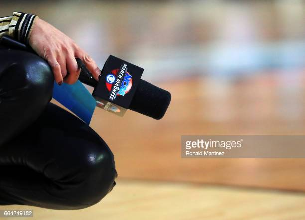 A view of the microphone of CBS sideline reporter Tracy Wolfson during the game between the North Carolina Tar Heels and the Gonzaga Bulldogs during...