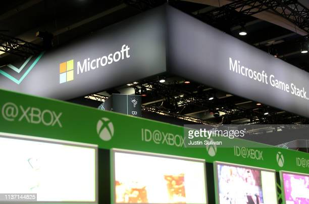 A view of the Microsoft booth at the 2019 GDC Game Developers Conference on March 20 2019 in San Francisco California The GDC runs through March 22