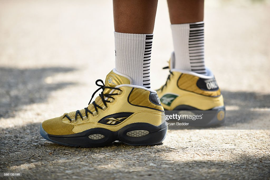 View of the Mid EBC at the Launch of the new Reebok Question Mid EBC & A5 with Cam'ron and Jadakiss at Rucker Park on August 4, 2016 in New York City.