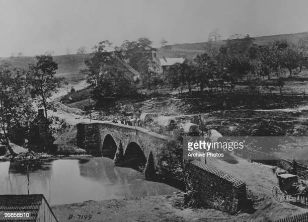 A view of the middle bridge over Antietam Creek Sharpsburg Maryland during the battle of Antietam circa 1862