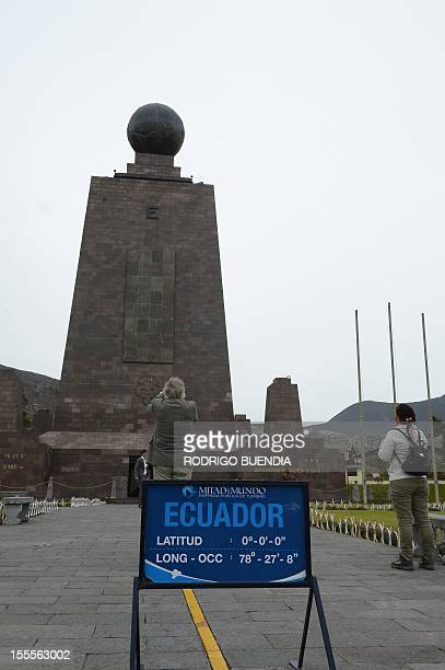 View of the Middle of the world monument in Quito Ecuador on November 5 2012 The world's tallest tower 16 km could be erected in Ecuador on the...