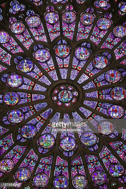 A view of the middleage stained glass rosace on the northern side of the NotreDame de Paris cathedral on November 29 in Paris AFP PHOTO / PATRICK...