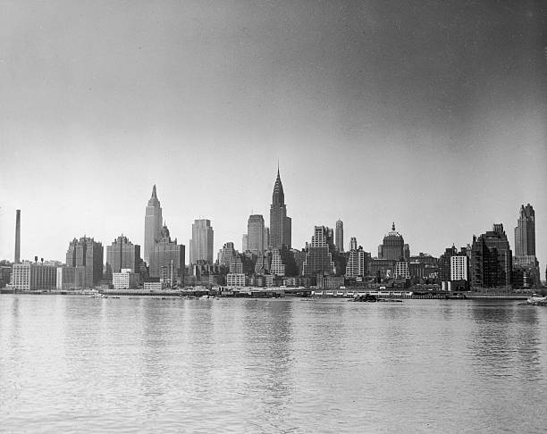 Midtown Manhattan Skyline From East River, 1940s.