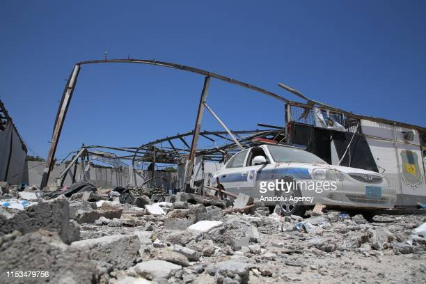 View of the migrant shelter targeted by Haftars forces in Tripoli, Libya on July 03, 2019. Libyas UN-recognized Government of National Accord accused...