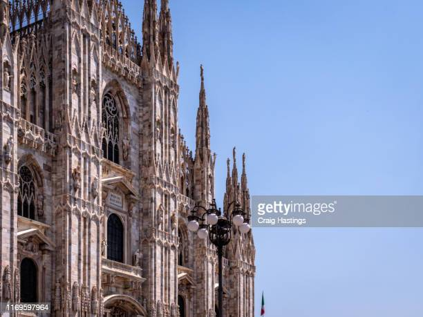 view of the milan domo cathedral church in the centre of milan italy - domo stock pictures, royalty-free photos & images