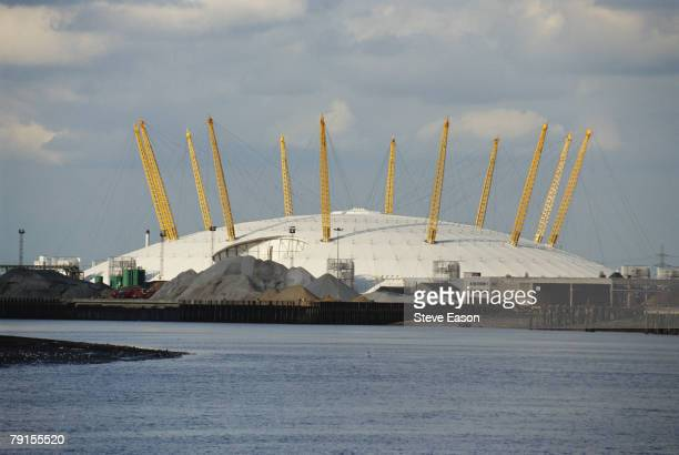 View of the Millenium Dome, designed by Richard Rogers, across the River Thames, Greenwich, 13th February 2000.