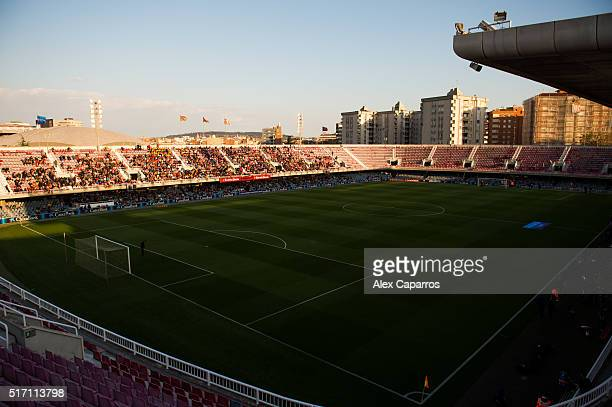 A view of the Miniestadi before the UEFA Women's Champions League Quarter Final first leg match between FC Barcelona and Paris SaintGermain at...