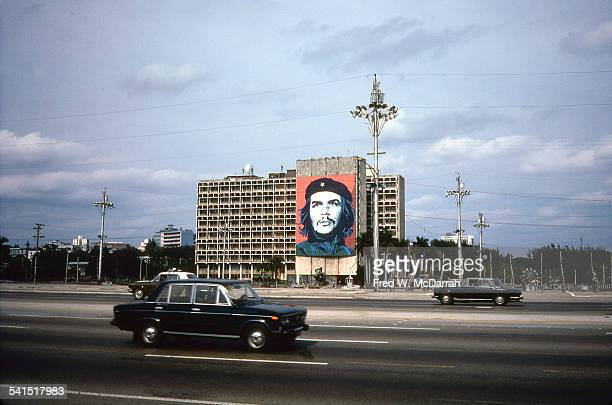 View of the Ministry of the Interior building decorated by a large mural of Che Guevara in Plaza de la Revolucion Havana Cuba January 28 1983
