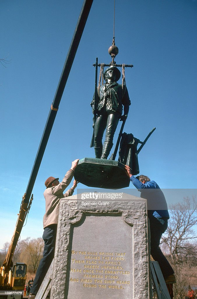 View of the Minuteman statue as it is being reinstalled