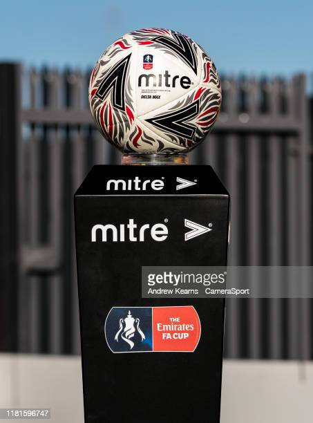 A view of the Mitre matchball during the FA Cup First Round match between Barnet and Fleetwood Town at The Hive on November 10 2019 in Barnet England