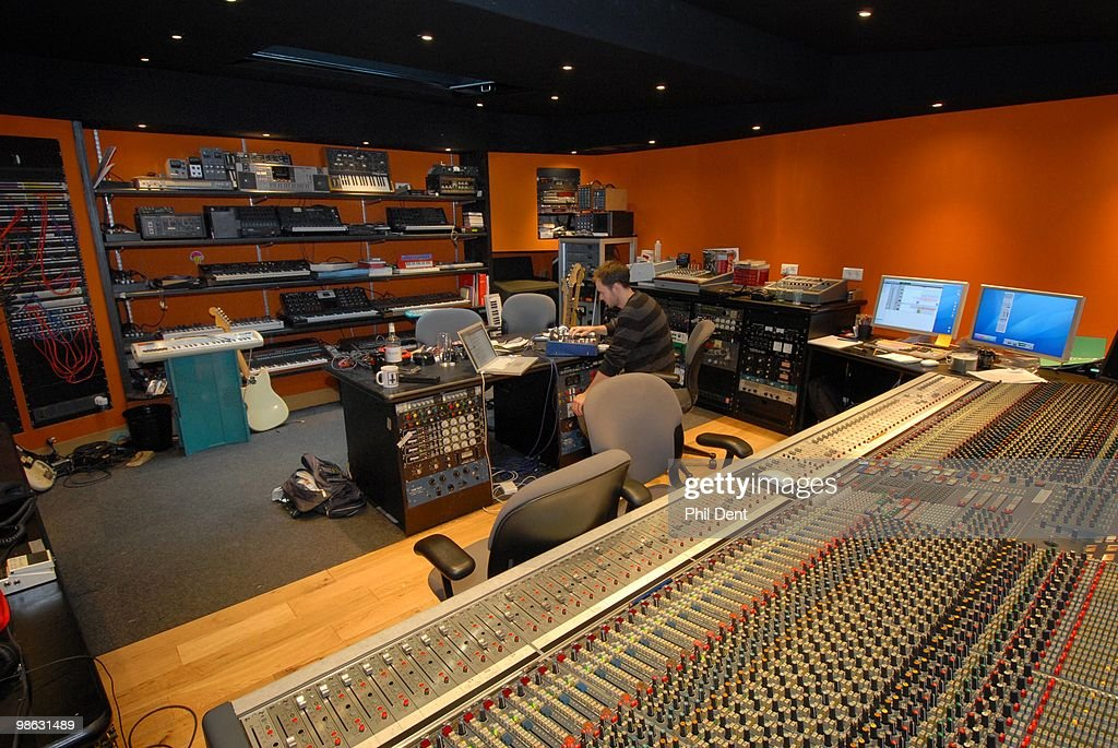 A view of the mixing desk and computers in the control room at the Paint Factory recording studio on 22nd October 2008 in the United Kingdom.
