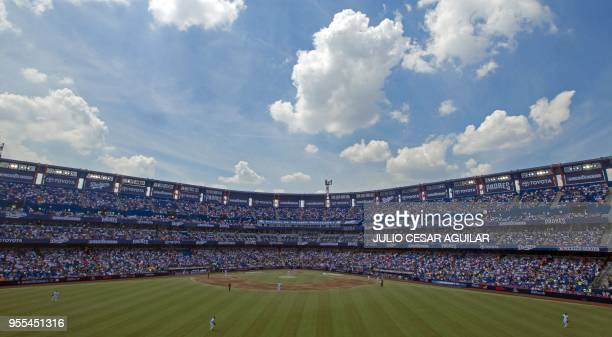 TOPSHOT View of the MLB match between the San Diego Padres and the Los Angeles Dodgers at Estadio Monterrey in Monterrey Nuevo Leon Mexico on May 6...