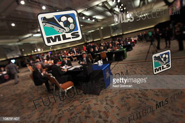 A view of the MLS logo during the 2011 MLS SuperDraft on January 13 2011 at the Baltimore Convention Center in Baltimore Maryland
