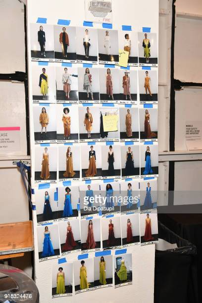 A view of the model board backstage for Leanne Marshall during New York Fashion Week The Shows at Gallery II at Spring Studios on February 14 2018 in...