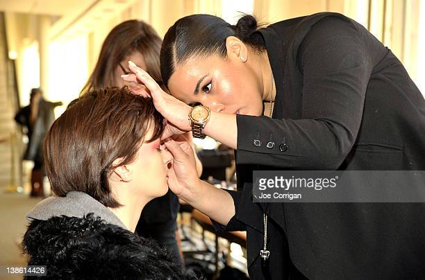 A view of the models backstage before first looks at the Houghton fall 2012 fashion show during MercedesBenz Fashion Week at Avery Fisher Hall...