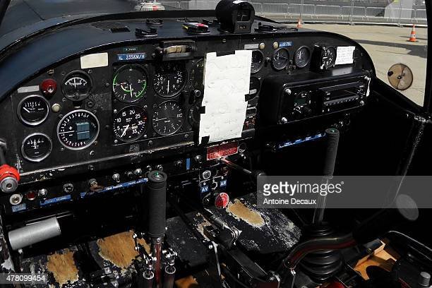 A view of the modified commands of the cockpict of the CAP 10 aerobatic aircraft used by Dorine Bourneton ahead of her taking part in the first...