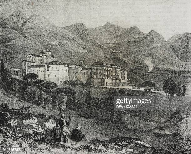 View of the monastery of San Martino delle Scale near Palermo, Sicily, Italy, lithograph by Salvatore Puglia from Poliorama Pittoresco, n 47, July 2,...