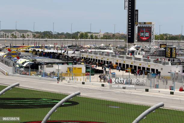 A view of the Monster Energy Cup garage from the roof before qualifying for the Coke Zero 400 Monster Energy Cup Series race on July 6 at Daytona...