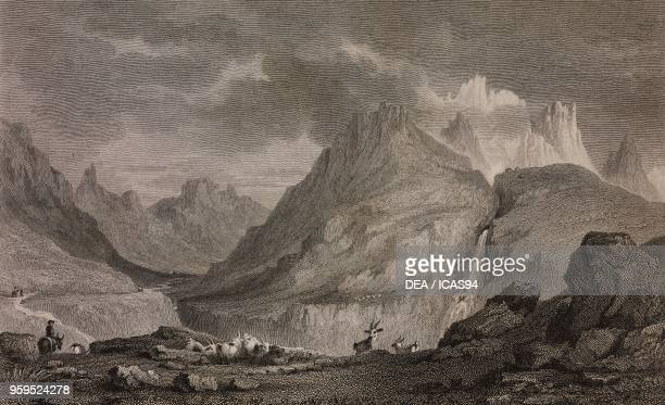 View of the Mont d'Arcines and the Guisane valley from the Col du Lautaret France engraving by Edward Finden after a drawing by William Brockedon...