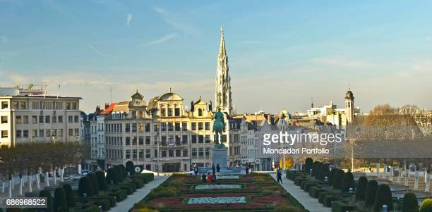 View of the Mont des Arts a urban complex situated between the royal neighborhood and the old town center Ith houses the Royal Library of Belgium the...