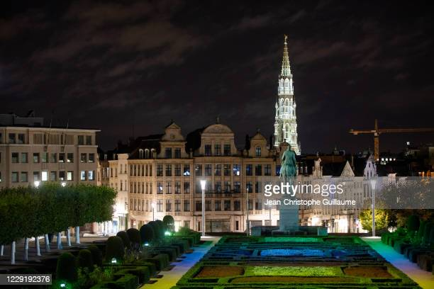 View of the Mont des Arts and the spire of the Brussels Town Hall on October 20, 2020 in Brussels, Belgium. Bars and restaurants in Brussels have...