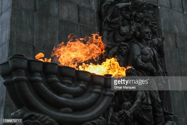 View of the Monument to the Ghetto Heroes during Holocaust Remembrance Day on January 27, 2021 in Warsaw, Poland. January 27, the day the Auschwitz...
